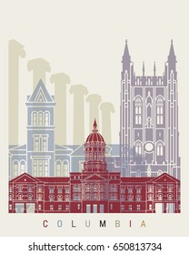 Columbia MO skyline poster n editable vector file