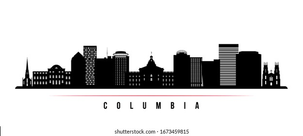 Columbia skyline horizontal banner. Black and white silhouette of Columbia, South Carolinaa. Vector template for your design.