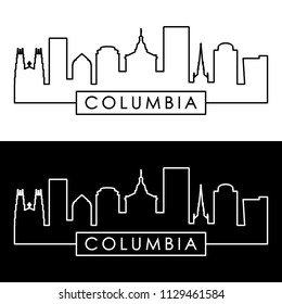 Columbia skyline. Linear style. Editable vector file.
