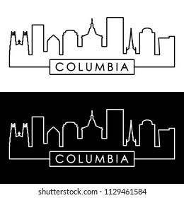 Columbia skyline. Linear style. Editable vector file.