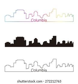 Columbia skyline linear style with rainbow in editable vector file