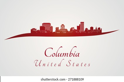 Columbia skyline in red and gray background in editable vector file
