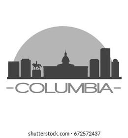 Columbia Skyline Silhouette Skyline Stamp Vector City Design