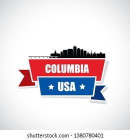 Columbia skyline - South Carolina, United States of America, USA - vector illustration