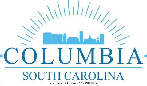 Columbia South Carolina. Banner Design. City Skyline. Silhouette Vector. Famous Monuments.