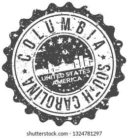 Columbia South Carolina. City Skyline. Silhouette City. Design Vector. Famous Monuments.