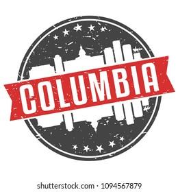 Columbia South Carolina Round Travel Stamp Icon Skyline City Design