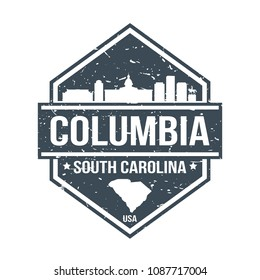 Columbia South Carolina Travel Stamp Icon Skyline City Design Tourism