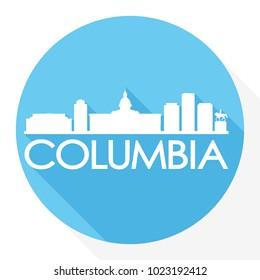 Columbia South Carolina USA Flat Icon Skyline Silhouette Design City Vector Art