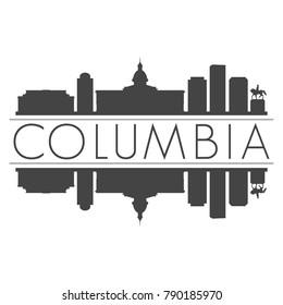 Columbia South Carolina USA Skyline Vector Art Mirror Silhouette Emblematic Buildings