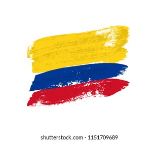 Columbian flag made of brush strokes. Vector grunge flag of Columbia isolated on white background.