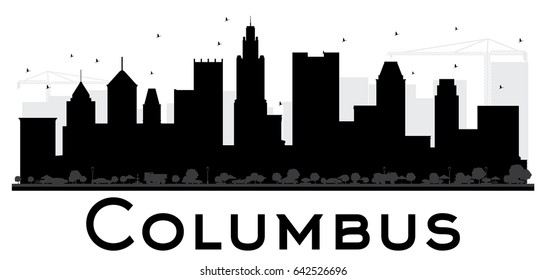Columbus City skyline black and white silhouette. Simple flat concept for tourism presentation, banner, placard or web site. Cityscape with landmarks.