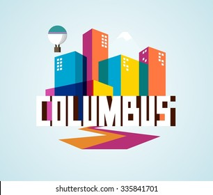 Columbus in colorful poster design.