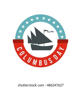 Columbus Day badge icon in flat style on a white background vector illustration
