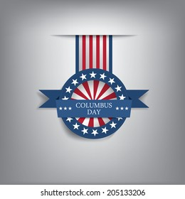 Columbus day badge with USA symbols. Eps10 vector illustration.