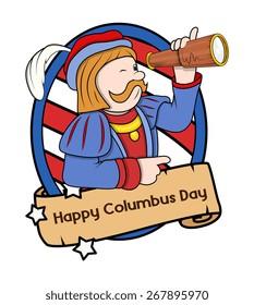 Columbus Day Cartoon Man with Telescope Vector