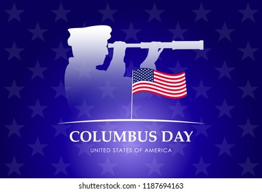 Columbus day. Christopher Columbus silhouette
