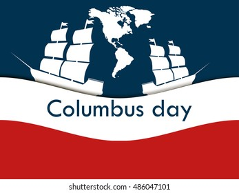 Columbus Day, the discoverer of America, in the wake of the ship. Vector illustration.