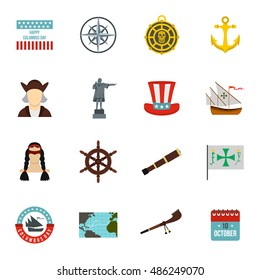 Columbus Day icons set in flat style. Sailing equipment vector illustration