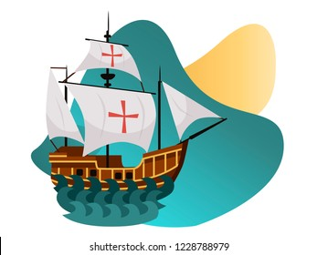 Columbus Day poster with Caravel Santa Maria