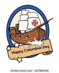Columbus Day Retro Ship Parchment Banner