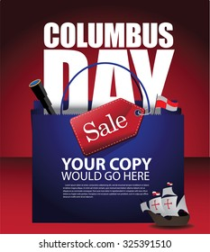 Columbus Day Sale Shopping Bag Background. EPS 10 vector royalty free stock illustration for ad, promotion, poster, flier, blog, article, social media, marketing