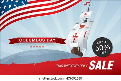 Columbus Day. Sale template banner