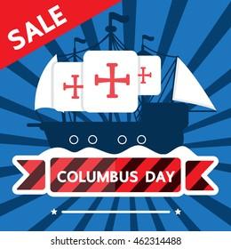 Columbus day sale vector design .