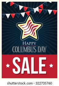 Columbus Day Sale Vector Poster Background