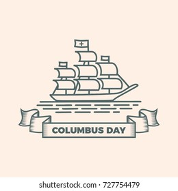 Columbus Day with ship in retro simple touch