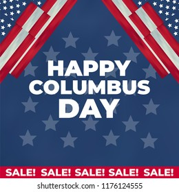 Columbus Day United States national holiday with Columbus ship. Happy Columbus Day vector illustration