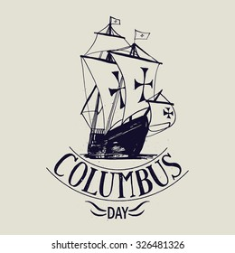 Columbus day vector. Santa Maria rusty sign