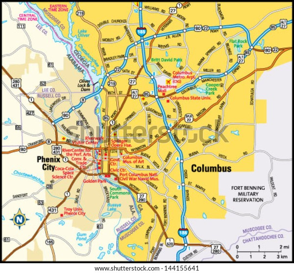 Map Of Columbus Georgia.Columbus Georgia Area Map Stock Vector Royalty Free 144155641