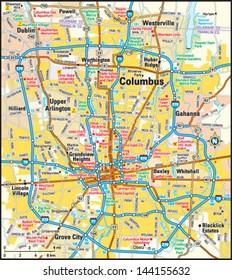 Columbus, Ohio area map