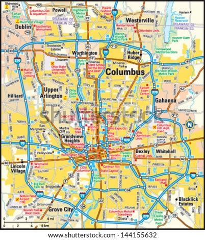 Columbus Ohio Area Map Stock Vector (Royalty Free) 144155632 ...