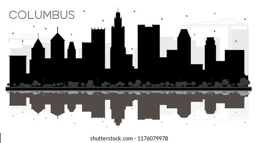 Columbus Ohio City skyline black and white silhouette with Reflections. Simple flat concept for tourism presentation, banner, placard or web site. Columbus Cityscape with landmarks.