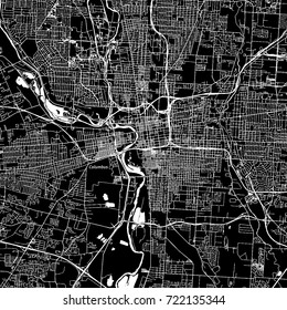 Columbus, Ohio. Downtown vector map. City name on a separate layer. Art print template. Black and white.