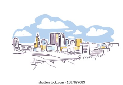 Columbus Ohio usa America vector sketch city illustration line art