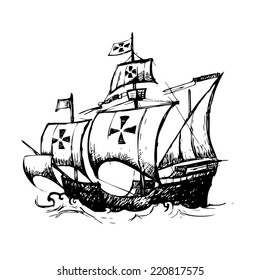Columbus ship hand drawn by pencil , use  for Columbus day