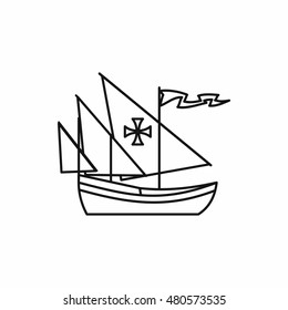 Columbus ship in outline style isolated on white background vector illustration