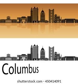 Columbus skyline in orange background in editable vector file