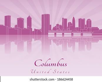 Columbus skyline in purple radiant orchid in editable vector file