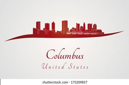 Columbus skyline in red and gray background in editable vector file