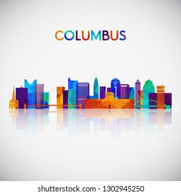 Columbus skyline silhouette in colorful geometric style. Symbol for your design. Vector illustration.