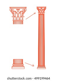 Column Architectural decorative vector on white background