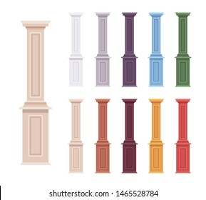 Column baluster decorative set. Porch, classical accent to home and garden decor, balcony european motif. Vector flat style cartoon illustration isolated on white background, different vivid colors