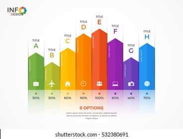 Column chart infographic template with 8 options.
