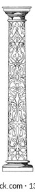 Column Decorated Shaft, German, Renascence, intarsia, shaft, supports, wood inlaying, vintage line drawing or engraving illustration.