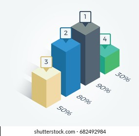 column graph with percentage infographic element, isometric style, vector for business or finance presentation, polling result.