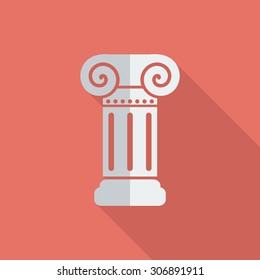 Column icon. Flat vector related icon with long shadow for web and mobile applications. It can be used as - logo, pictogram, icon, infographic element. Vector Illustration.